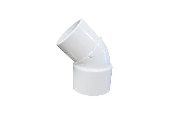 White Plumbing 1.5 Inch PVC Pipe 45 Degree Elbow For Spa Massage System